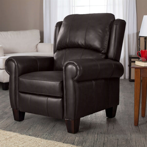 Image of Top Grain Leather Upholstered Wingback Recliner Club Chair in Chocolate Brown