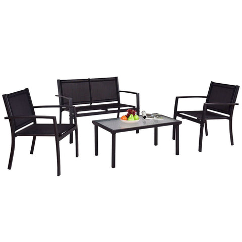 Image of Modern 4-Piece Outdoor Patio Furniture Set with Sling Chairs and Coffee Table