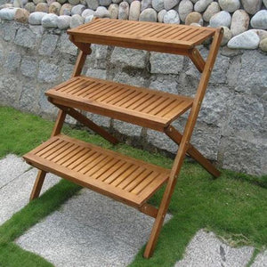 3-Tier Planter Stand in Eucalyptus Wood for Outdoor or Indoor Use