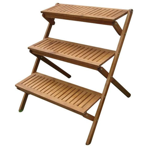 Image of 3-Tier Planter Stand in Eucalyptus Wood for Outdoor or Indoor Use