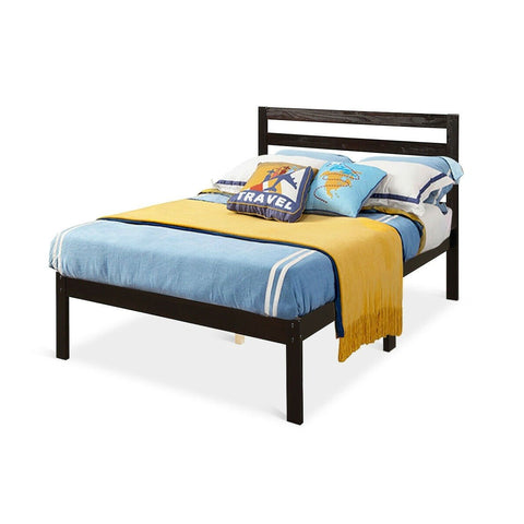 Image of Twin size Wood Platform Bed Frame with Headboard in Espresso
