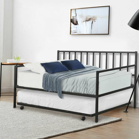 Image of Twin size Black Metal Daybed with Roll-out Trundle Bed Frame