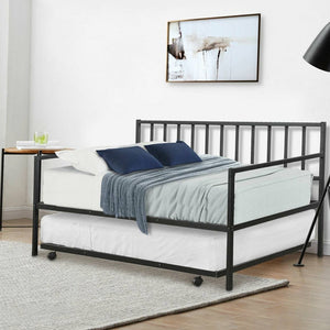 Twin size Black Metal Daybed with Roll-out Trundle Bed Frame