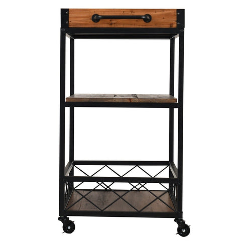 Image of Wood Iron Kitchen Cart with Removeable Tray Top and Wheels
