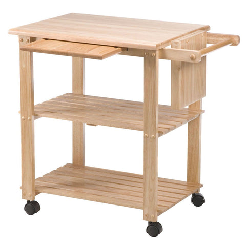 Image of Solid Wood Kitchen Utility Microwave Cart with Pull-Out Cutting Board