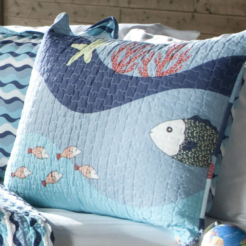 Image of Twin Blue Serenity Sea Fish Coral Coverlet Quilt Bedspread Set