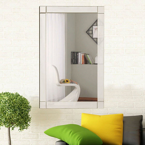 Frameless 35 x 24 inch Rectangle Bathroom Wall Mirror