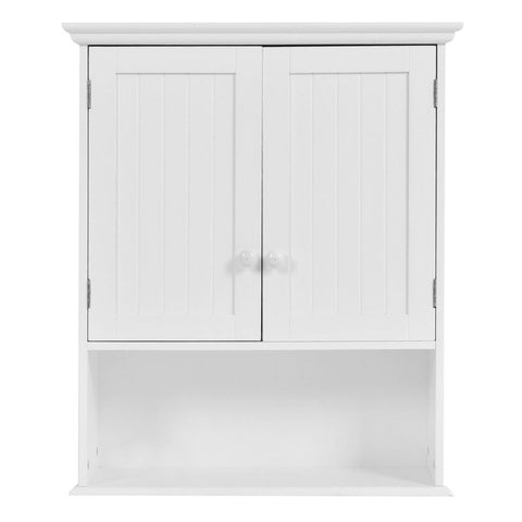 Image of White Wall Mount Bathroom Cabinet with Storage Shelf