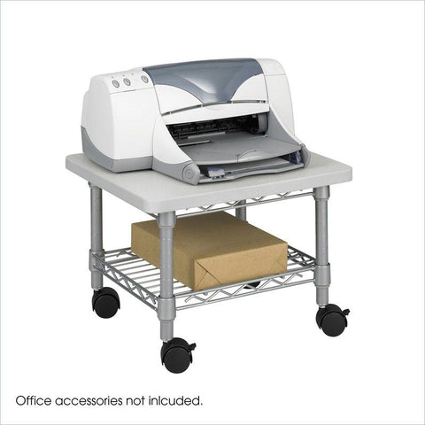 Under Desk Printer Stand Cart with Paper Shelf and Locking Casters