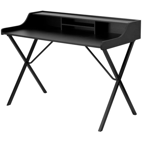 Image of Modern Black Office Table Computer Desk with Raised Top Shelf