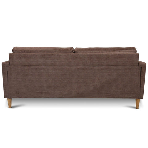 Image of Modern Light Brown Coffee Fabric Mid-Century Style Sofa with Wood Legs