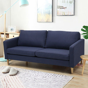 Modern Mid-Century Style Sofa with Wood Legs and Blue Fabric Upholstery