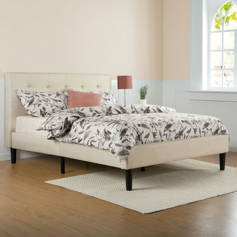 Image of Full size Taupe Beige Upholstered Platform Bed Frame with Headboard