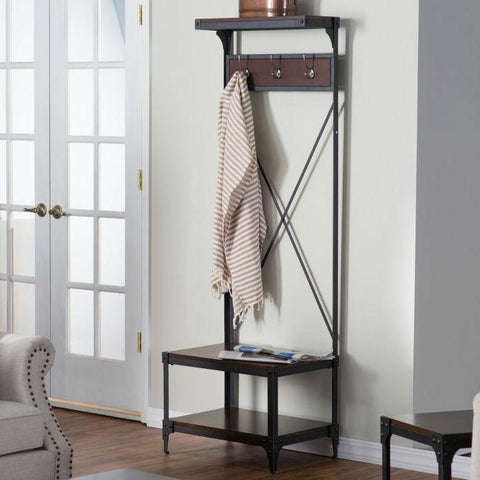 Image of Rustic Dark Brown Espresso Black Metal Frame Entryway Storage Hall Tree