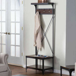 Rustic Dark Brown Espresso Black Metal Frame Entryway Storage Hall Tree
