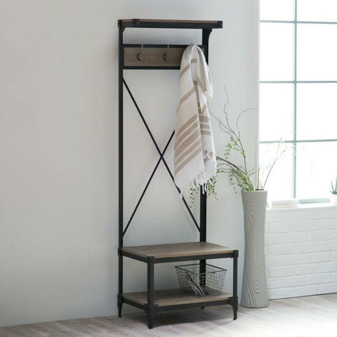 Image of Rustic Gray Black Metal Frame Entryway Storage Hall Tree