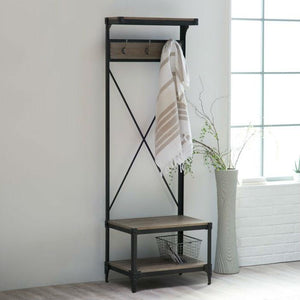 Rustic Gray Black Metal Frame Entryway Storage Hall Tree
