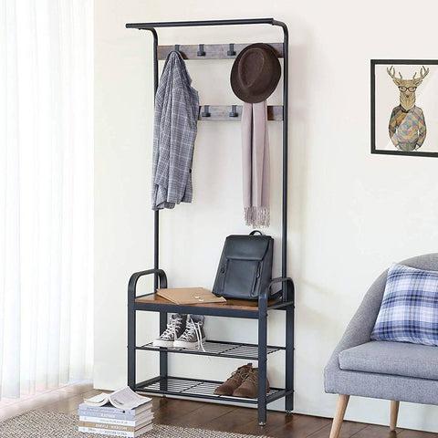 Image of Entryway Modern Industrial Style Hall Tree Coat Rack Shoe Storage Bench