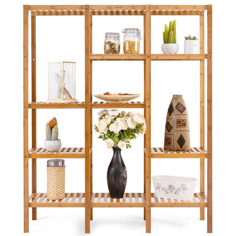 Eco-Friendly Bamboo 4-Shelf Bookcase Storage Rack