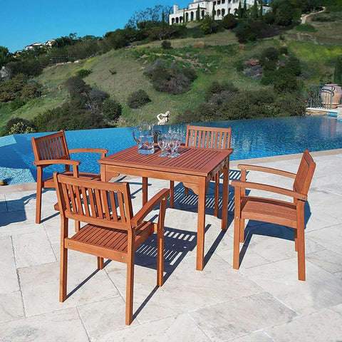 Square 35-in Outdoor Wooden Patio Dining Table with 2-in Diameter Umbrella Hole