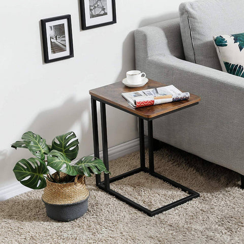 Image of Modern Industrial Side Table Nightstand TV Tray on Wheels