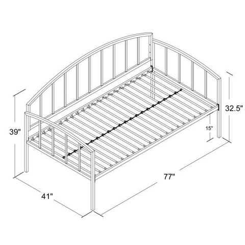 Twin size White Metal Day Bed Frame with 600 lb Weight Limit