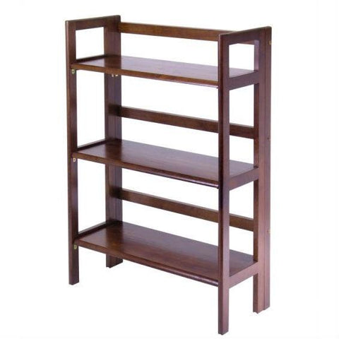 3-Shelf Stackable Folding Bookcase in Distressed Walnut Finish