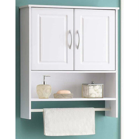 Image of White Bathroom Wall Cabinet with Open Shelf with Towel Rod