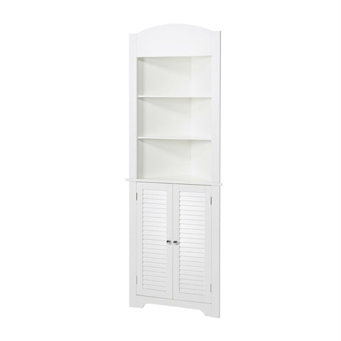 Image of Bathroom Linen Tower Corner Storage Cabinet with 3 Open Shelves in White