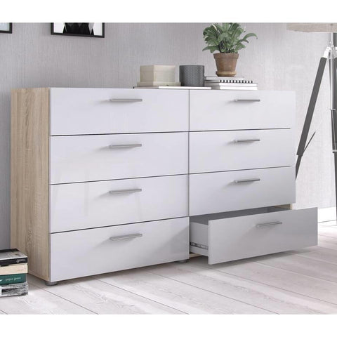Image of White Modern Bedroom 8-Drawer Double Dresser with Oak Finish Sides and Top