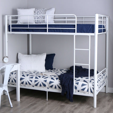 Image of Twin over Twin Sturdy Steel Metal Bunk Bed in White Finish
