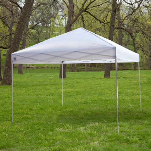 Image of White 10-Ft x 10-Ft Outdoor Canopy Tent Gazebo with Steel Frame and Carry Bag