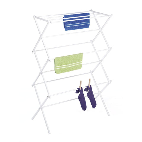 Image of White Folding Laundry Dryer Clothes Drying Rack - Sturdy Steel Desig