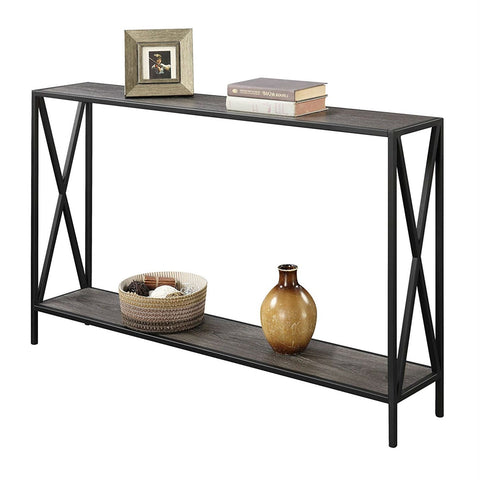 Image of Weathered Grey Wood Console Sofa Table with Bottom Shelf and Metal Frame
