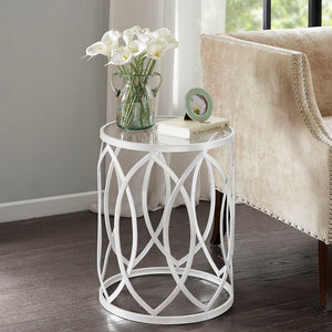 Arlo Metal Eyelet White Accent Table