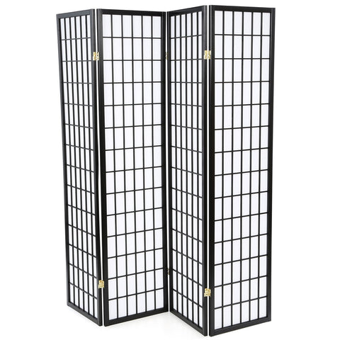 Image of Black 4-Panel Asian Style Shoji Room Divider Screen