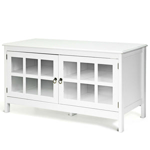 White Wood Entertainment Center TV Stand with Glass Panel Doors