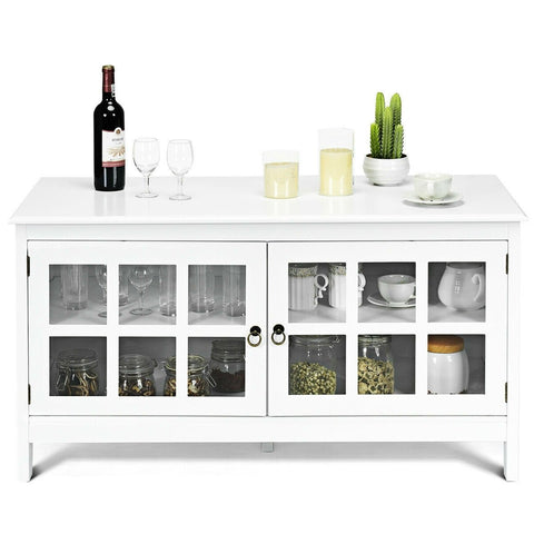 Image of White Wood Entertainment Center TV Stand with Glass Panel Doors