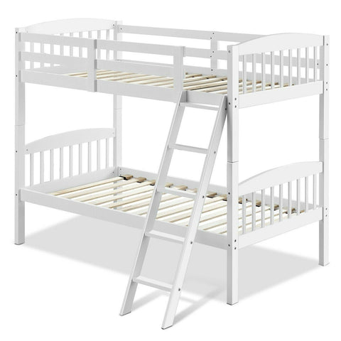 Image of Twin over Twin Wooden Bunk Bed with Ladder in White Wood Finish