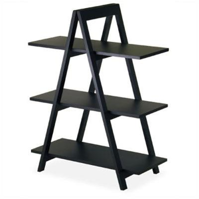 Modern 3-Tier A-Frame Display Shelf Bookcase in Black