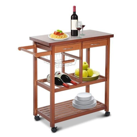 Image of Kitchen Island Cart with Wine Rack and Wooden Cutting Board Top