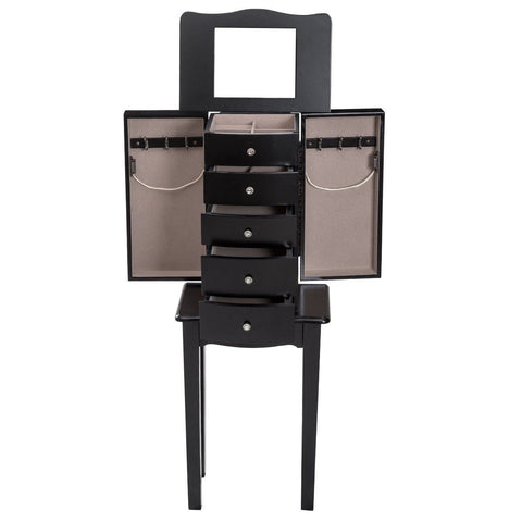 Black Wood 5-Drawer Jewelry Chest Storage Chest Cabinet with Mirror