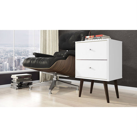 White Modern Mid-Century Style 2-Drawer Side Table Nightstand