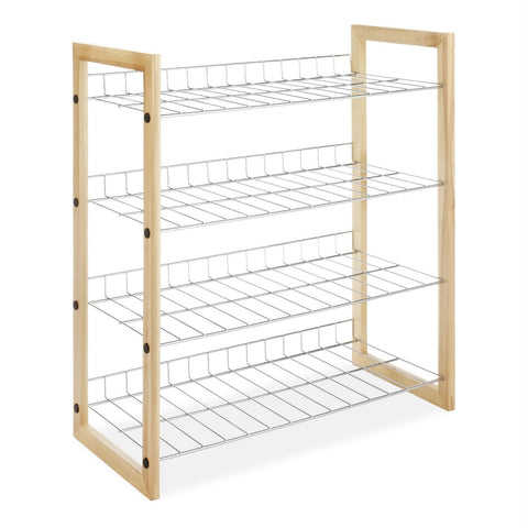 Image of 4-Shelf Closet Shoe Rack with Natural Wood Frame and Chrome Wire Shelves