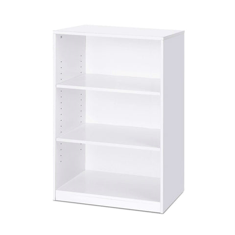 Image of Modern 3-Shelf Bookcase in White Wood Finish