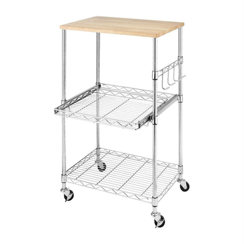 Image of Sturdy Metal Kitchen Microwave Cart with Adjustable Shelves and Locking Wheels