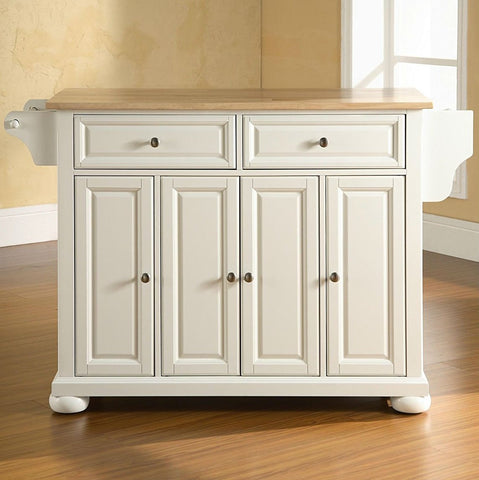 Image of White Kitchen Island Storage Cabinet with Solid Wood Top