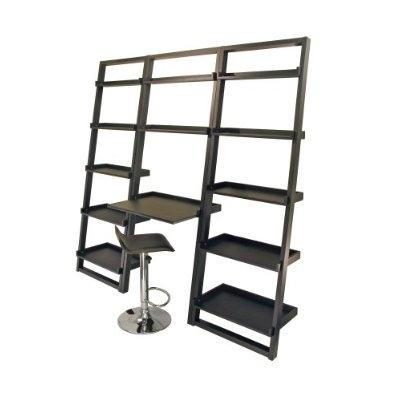 Image of Set of 2 Modern Air-Lift Adjustable Bar Stools with Black Seat