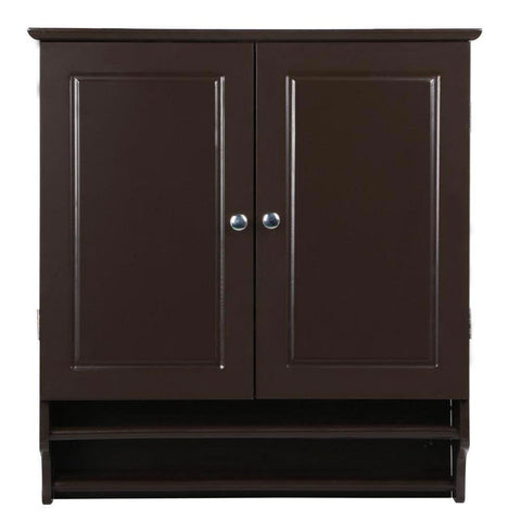 Espresso 2-Door Bathroom Wall Cabinet Cupboard with Towel Bar