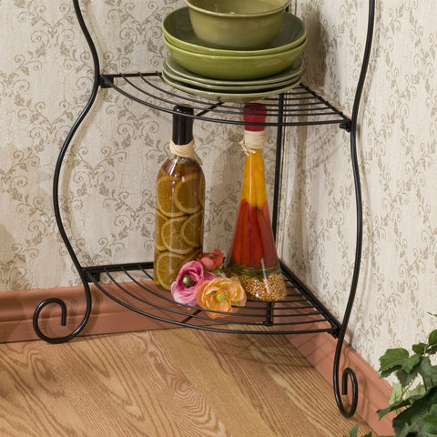 Image of Corner Bakers Rack 5-Tier Shelves with Decorative Metal Scrollwork